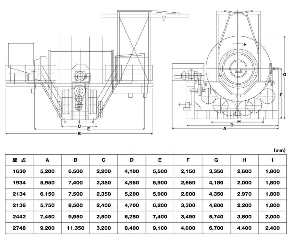ロッドエースの機械寸法(湿式標準型)