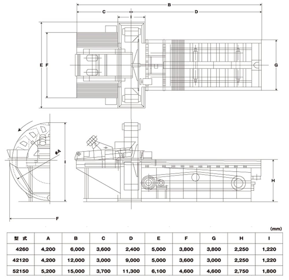 サンドエースの機械寸法(湿式標準型)